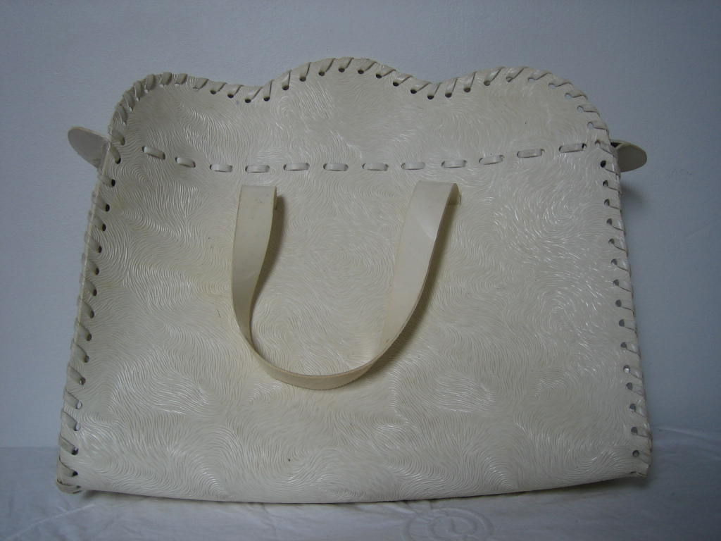 Vintage unusual 1950s/early 60s summer white plastic  handbag