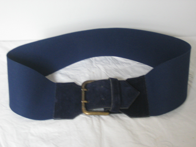 Vintage navy  cinch belt with suede and brass buckle
