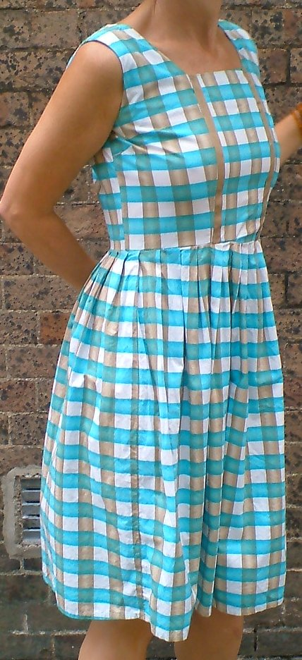1950s vintage check print scoop back dress approx size 12