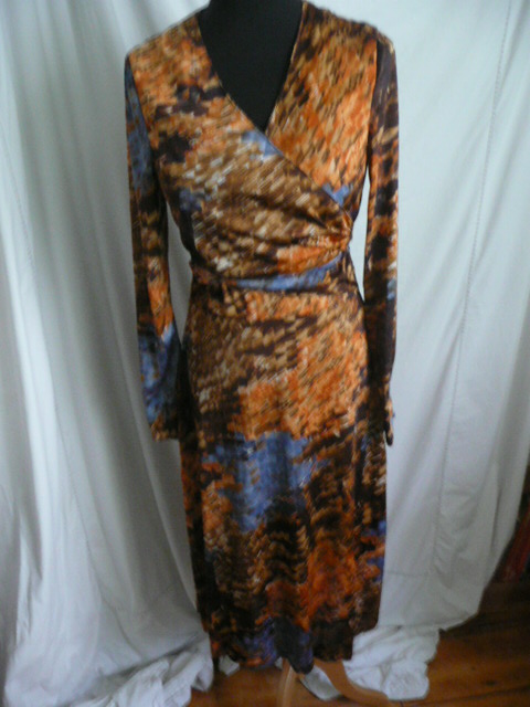 Vintage 1960s wrap-front silky dress
