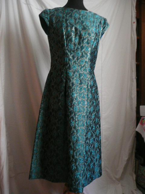Vintage 1950s turquoise/gold party dress