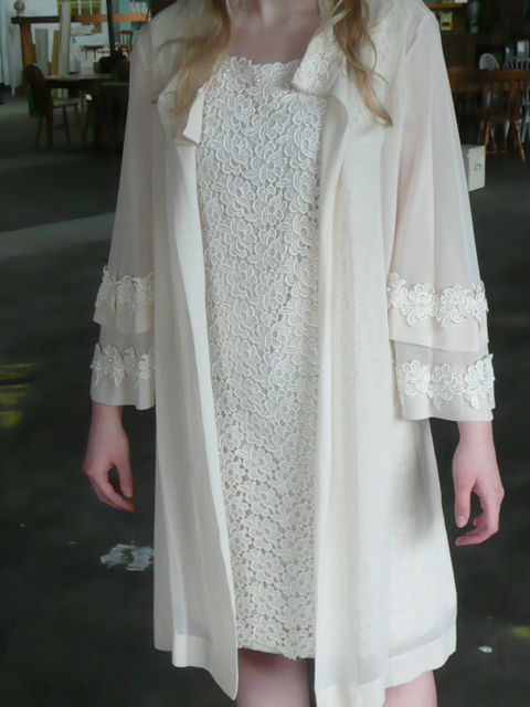 Gorgeous 60s flower lace dress and matching jacket with bell sleeves